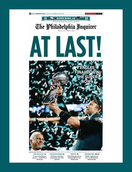 At Last (Philadelphia Inquirer Front page - February 5th, 2018 Super bowl Champions!!! ) 12x14 Canvas Art.