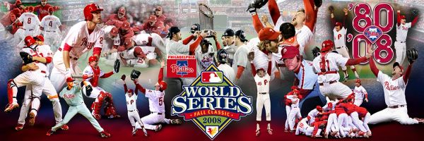 Phillies collage World series 2008 (20x60) Canvas Art,Gallery Wrapped.1980-2008