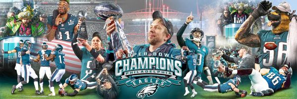Philadelphia Eagles Super Bowls collage (12x36) Canvas Art,Gallery Wrapped.