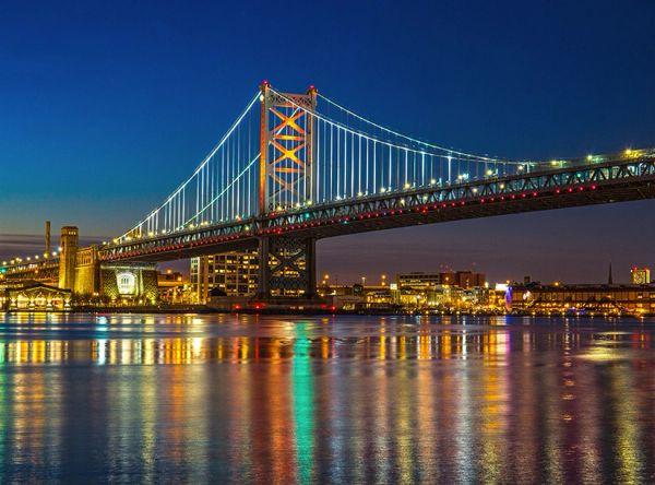 Philadelphia Ben Franklin Bridge (24x36) Canvas Art,Prints,Posters,Wall Art.