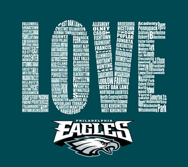 Philadelphia Love Eagle Typography Art,Canvas Art ,Prints,Posters,Wall Art.