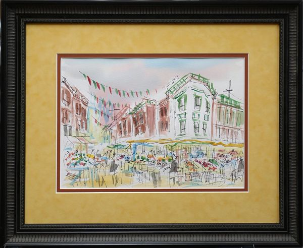 Original Watercolors Painting of Italian Market By the Artist Joe Barker,Framed And Matted