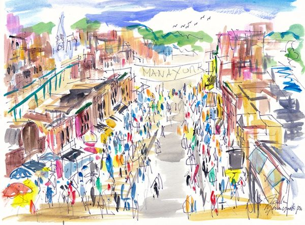 Original Watercolors Painting of Manayunk By the Artist Joe Barker,