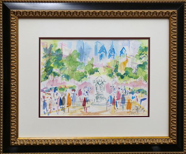 Original Watercolors Painting of Ritten House Sq By the Artist Joe Barker,Framed And Matted