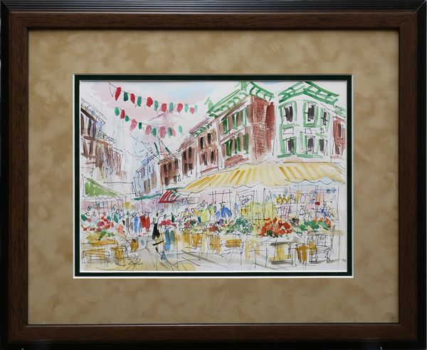 Original Watercolors Painting Framed and Matted by 18x22 By Joe Barker,Italian Market