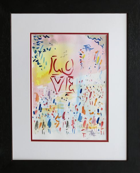 Original Watercolors Painting of Love Park By the Artist Joe Barker,Framed And Matted