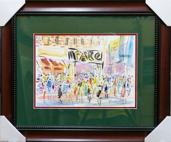 Original Watercolors Painting of Park Restaurant By the Artist Joe Barker,Framed And Matted