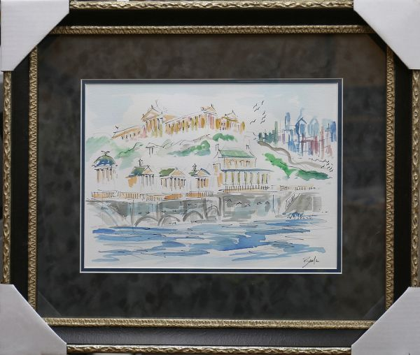 Original Watercolors Painting of Waterworks at the Philadelphia Museum By the Artist Joe Barker,Framed And Matted