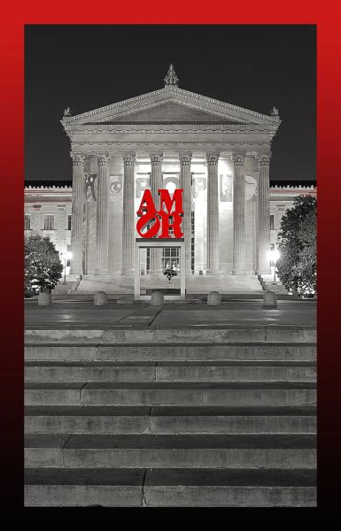 Love at the Museum bw vertical with red and black border