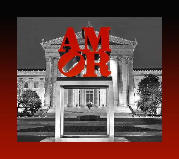 Love BW at Art Museum with red and black border 2