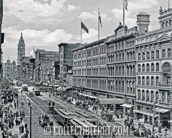 9th and Market St, Philadelphia PA, USA, Circa 1904