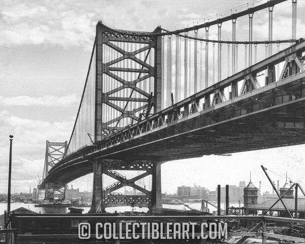 Ben Franklin Bridge, Philadelphia PA, USA, Circa 1925