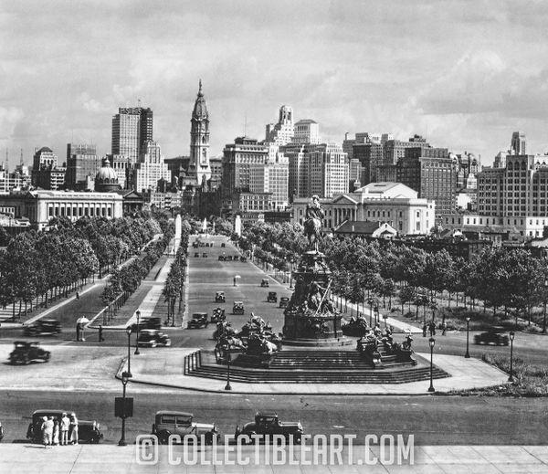 Center City Philadelphia from Art Museum steps, Circa 1933