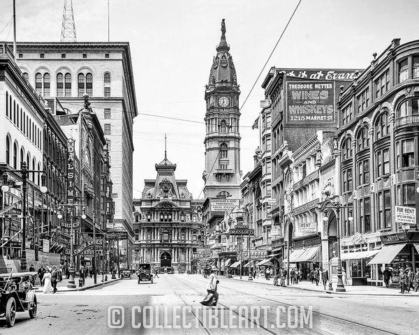 Center City from Spruce Street, Philadelphia PA, USA