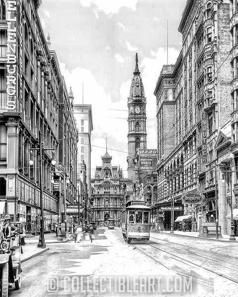 Looking West along Market Street, Philadelphia PA, Circa 1907