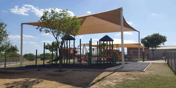 Sun awning for playground.