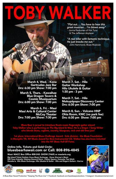 Toby Walker - March 4, Wednesday - Gertrudes Jazz Bar - Kona