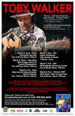 Toby Walker - March 5, Thursday - Blue Dragon Tavern & Cosmic Musiquarium - Kawaihae