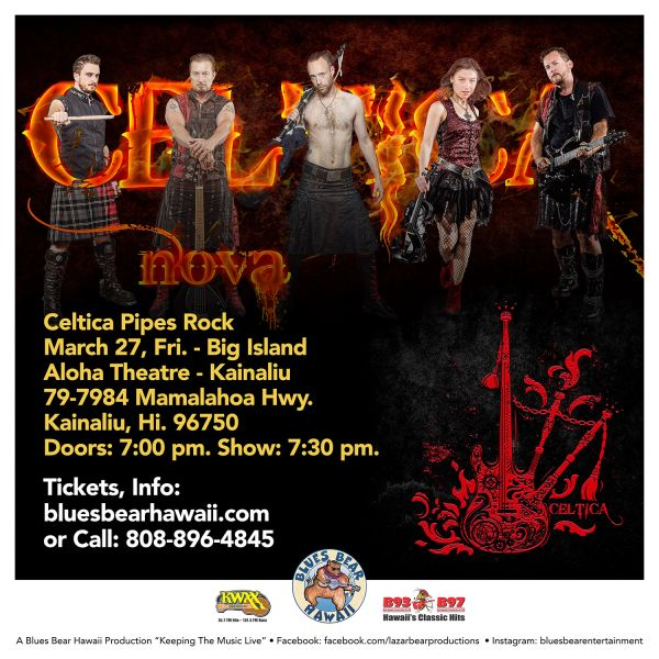 March 27, Fri. 2020 - Celtica Pipes Rock - Big Island