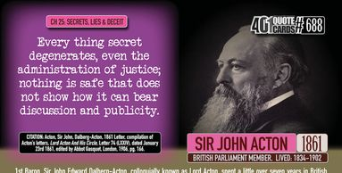 Sir John Acton quote on the dangers of secrecy from the 401 Quote Card Series by Genpopmedia.