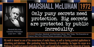 Marshall McLuhan quote in 1972 about keeping big secrets in the 401 Quote Card Series.
