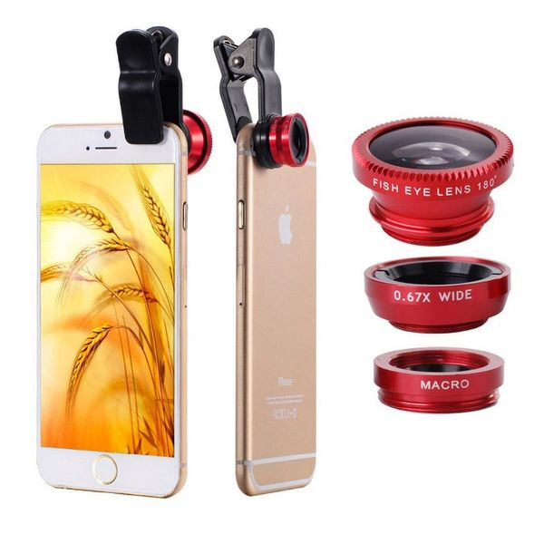 3 in 1 Universal Clip On Camera Lens Kit Fish Eye Wide Angle Macro For Smart Phone