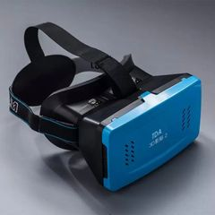 3D VR Headset, Virtual Reality 3D Video Glasses Head Mount with Comfortable Headband [Fit All Smartphone from 3.5 to 6 inches] for 3D Movies and Games (Blue)