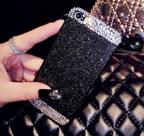 iPhone 5C Glitter Bling Case,Luxury Slim 3D Bling Handmade Case for iPhone 5C, BLK