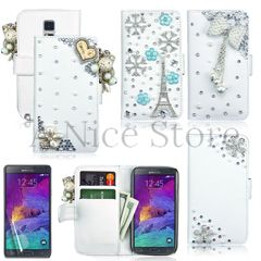Samsung Galaxy Note 4 Luxury Magnetic Flip 3D Bling Handmade Leather Flip Wallet Case