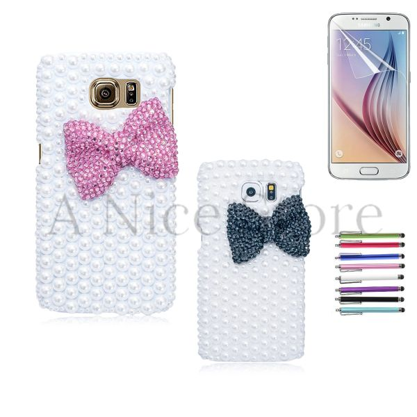 Samsung Galaxy S6 Luxury 3D New Bling Handmade Pearl Bowknot Case