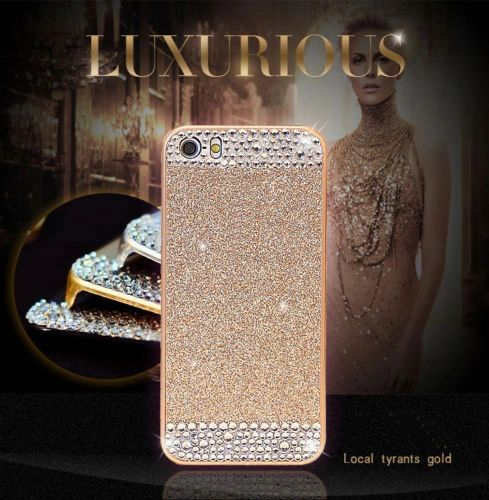 iPhone SE Glitter Bling Case,Luxury Slim 3D Bling Handmade Case for iPhone SE, Gold