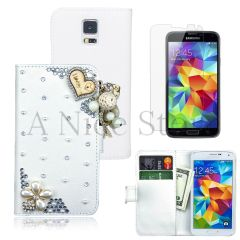 Samsung Galaxy S5 Luxury Magnetic Flip 3D Bling Handmade Leather With I Love you Flip Wallet Case