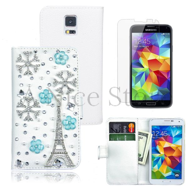 Samsung Galaxy S5 Luxury Magnetic Flip 3D Bling Handmade Paris Eiffel Tower Leather Flip Wallet Case