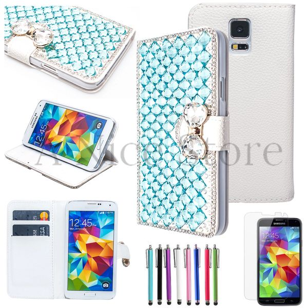 Samsung Galaxy S5 Luxury Magnetic Flip 3D Handmade Bling Gem Leather Flip Wallet Case