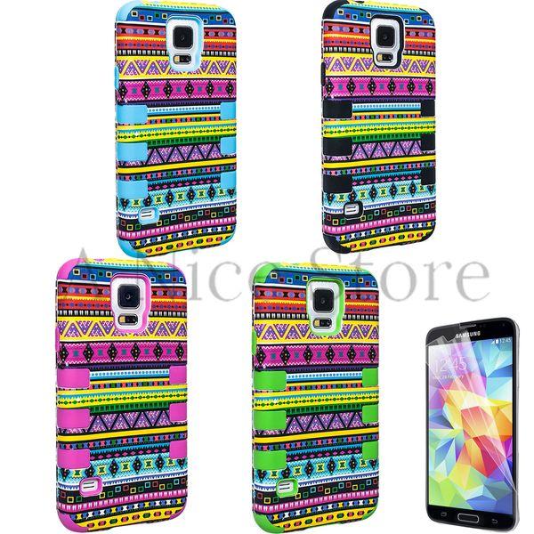 Samsung Galaxy S5 i9600 Aztec Totem Pattern Design Chevrons Hybrid Tribal Armor Case