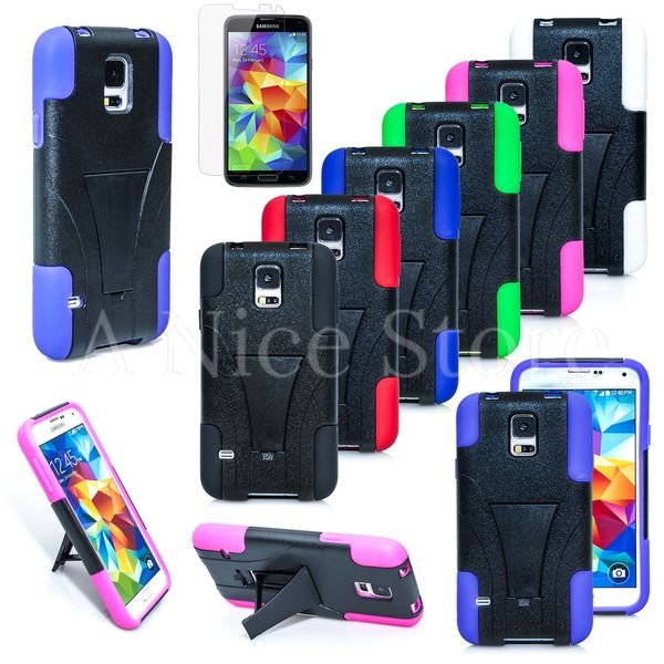 Samsung Galaxy S5 Heavy Duty Hybrid Rugged Hard and Soft Design Kickstand Case