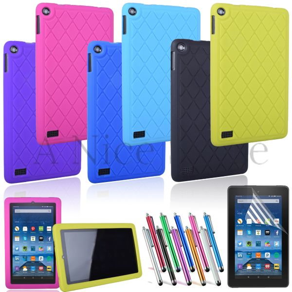 "NEW Amazon Kindle Fire 7"" [2015 edition] Soft Silicon Slip Resistant Back Cover"