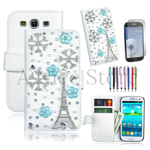 Samsung Galaxy S3 Luxury Magnetic Flip 3D Bling Handmade Leather Flip Wallet Case
