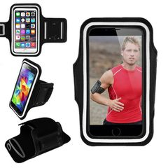 Armband, Universal Premium Water Resistant Jogging Sport Armband with Key Holder for Smart Phone, Black