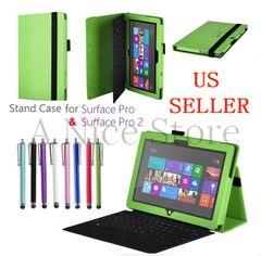 Microsoft Surface Pro and Surface Pro 2 Premium PU Leather Folding Folio Stand Case