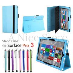 Microsoft Surface Pro 3 Premium PU Leather Folding Folio Stand Case Cover