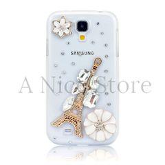 Samsung Galaxy S4 Luxury 3D New Bling Handmade Crystal Glitter Paris Tower Design Case