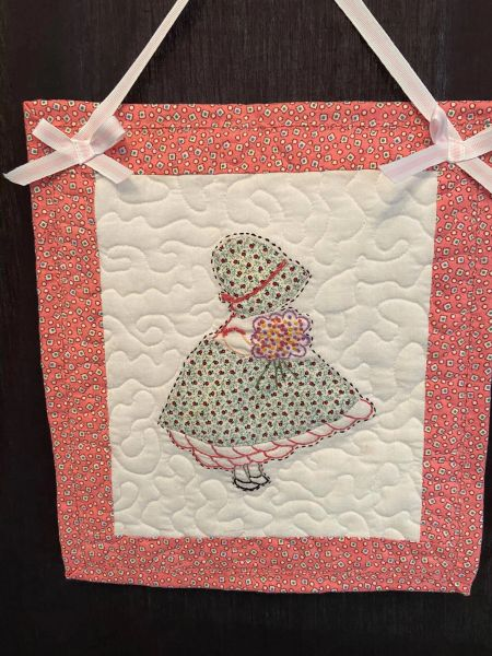 """Wall Hanging - Little Girl with pink border 10 1/2' X 12"""" (additional standard shipping will be applied)"""