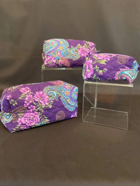 Cosmetic bag set of 3 Purple with blue paisley (additional standard shipping will be applied)