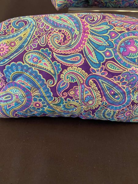 Cosmetic bag set of 3 Blue & Purple paisley (additional standard shipping will be applied)