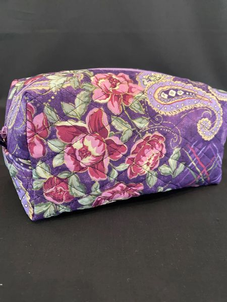 Cosmetic bag set of 3 Purple and pink floral (additional standard shipping will be applied)