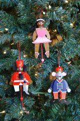 Nutcracker Ballet Trio of Pull String Ornaments