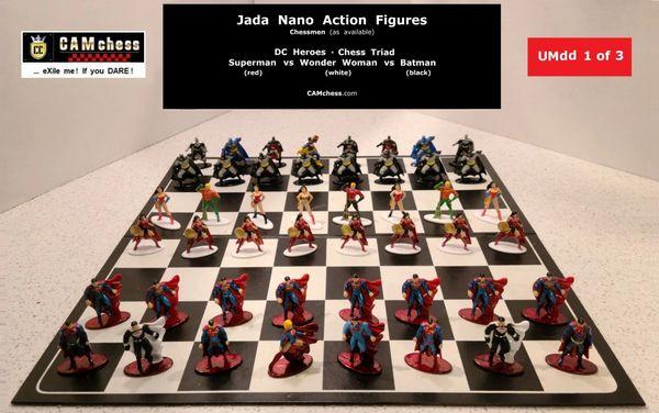 Chess Triad - Chess Pieces: Jada Nano Action Figures. DC Heroes - Superman vs Wonder Woman vs Batman. CAMchess.com Chessmen.