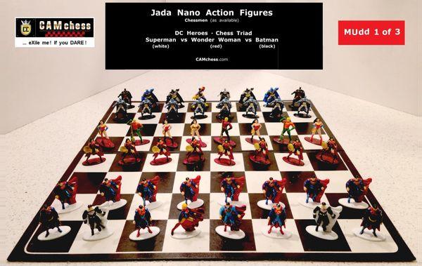 Chess Pieces - Chess Triad: Jada Nano Action Figures. DC Heroes - Batman vs Wonder Woman vs Superman. CAMchess.com Chessmen.