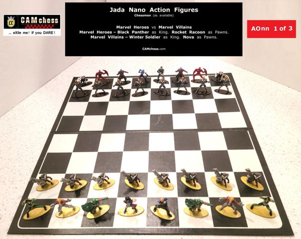 Chess Pieces: Jada Nano Action Figures. Marvel Heroes vs Marvel Villains. Rocket Racoon as Pawns vs Nova as Pawns. CAMchess.com Chessmen.